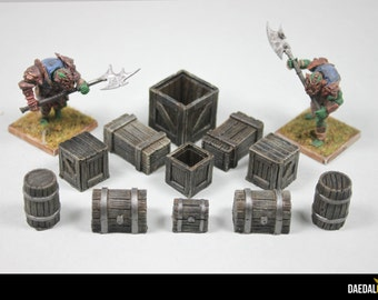 dungeons and dragons accessories Crates, barels and chests for tabletop miniature games like d&d warhammer