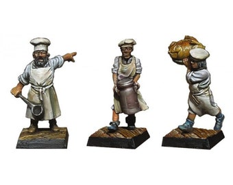 Set of 3 figurines cooked 28mm scale