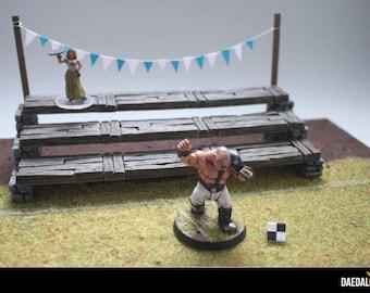 28mm miniature tribune for football fantasy games type blood bowl
