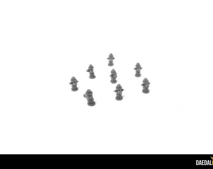 Set of 8 fire hydrants for miniature miniature miniature miniatures games 28 /32 m