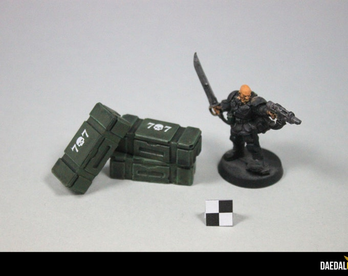 5 AMMO crates for tabletop game 28/32 mm