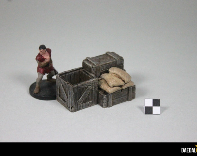 Crates and sacks token for miniature tabletop fantasy game like dungeon and dragons
