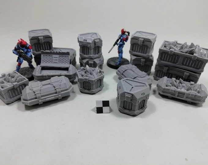 Mining Metal Crates and Boxes (x15) Set for tabletop miniature game 28mm like warhammer 40k