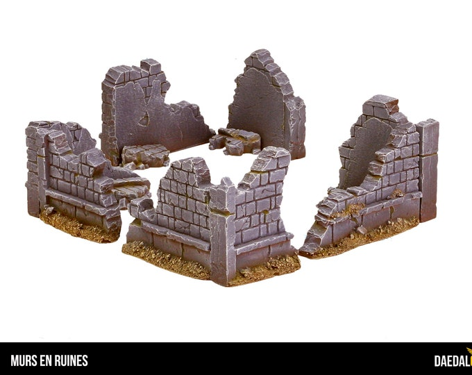 Ruined city wall for tabletop miniature game 28mm like warhammer fantasy, mordheim