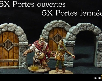 kit 10 portes fantasy pour jeux de figurines type Zombicide, Warhammer, Descent, Heroquest