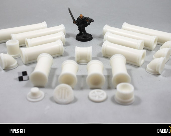 Warhammer 40000 : kit with 12 small pipes Diam 1/2 inch and accessories to create sewers miniature terrain