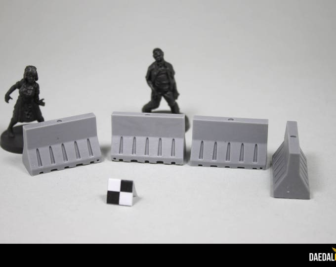concrete barriers set (8) for miniature wargame like walking dead, fallout, gaslands