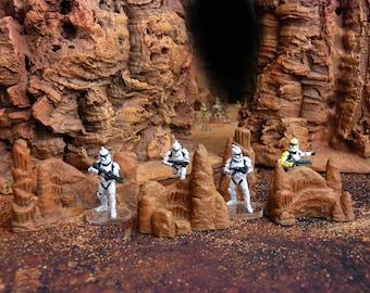 Set of geonosis miniature rocks for Star Wars Legion miniatures game