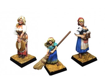 Set of 3 figurines waitresses scale 28mm