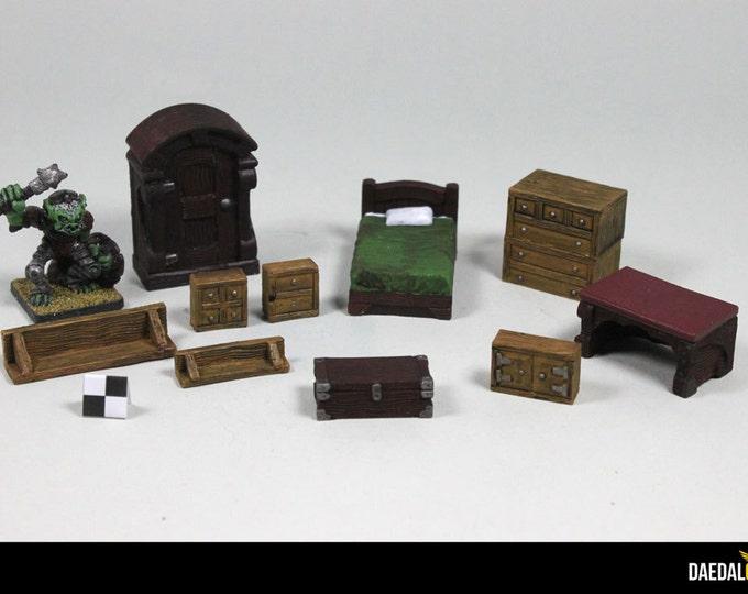Furniture lot for 28 mm miniature figurines: warhammer, heroquest, lotr, malifaux