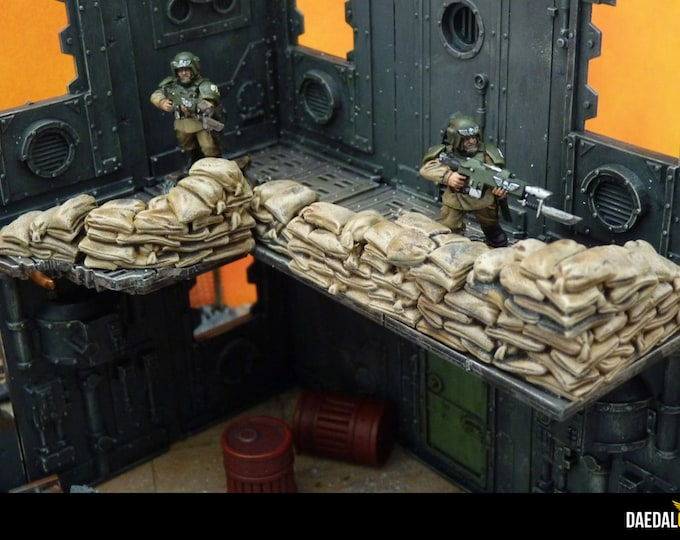 Sandbags scenery elements (x16) for miniature game 28mm like warhammer bolt action fallout