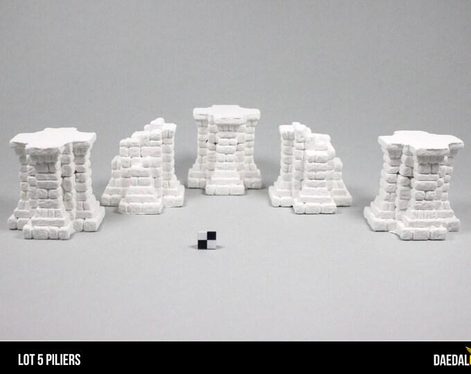 Fieldstone pillars terrain for tabletop miniature game 28mm like warhammer fantasy, mordheim