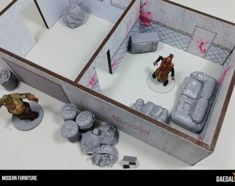 Zombicide Interior furniture kit with miniature armchair, tv, couch, garbage and trash cans