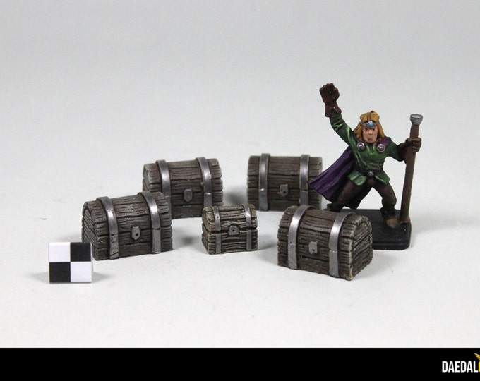Pack of 10 miniatures chests for tabletop games like dungeons and dragons, Heroquest, dungeon saga