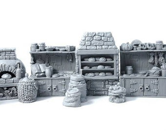 Boulangerie médiévale décor pour jeux de figurines type donjons et dragons, warhammer fantasy, ranger of shadow deep