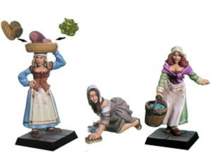 Set of 3 soubrettes figurines scale 28mm