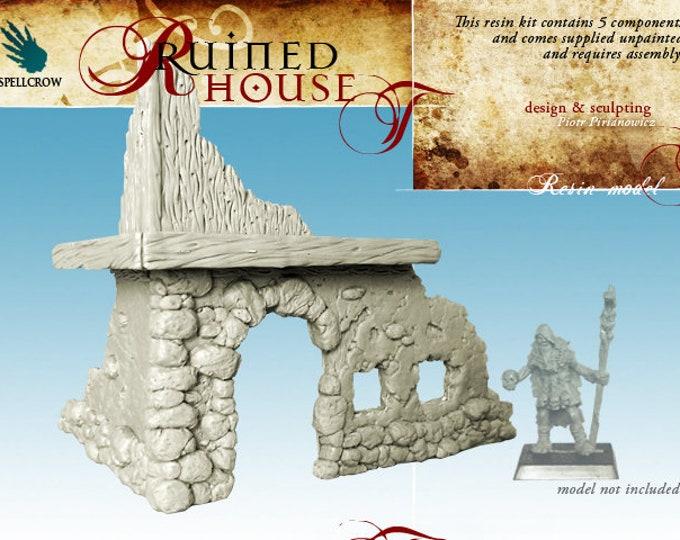 warhammer dnd scenery : Ruined wall inn for tabletop miniature game 28mm like warhammer 40k