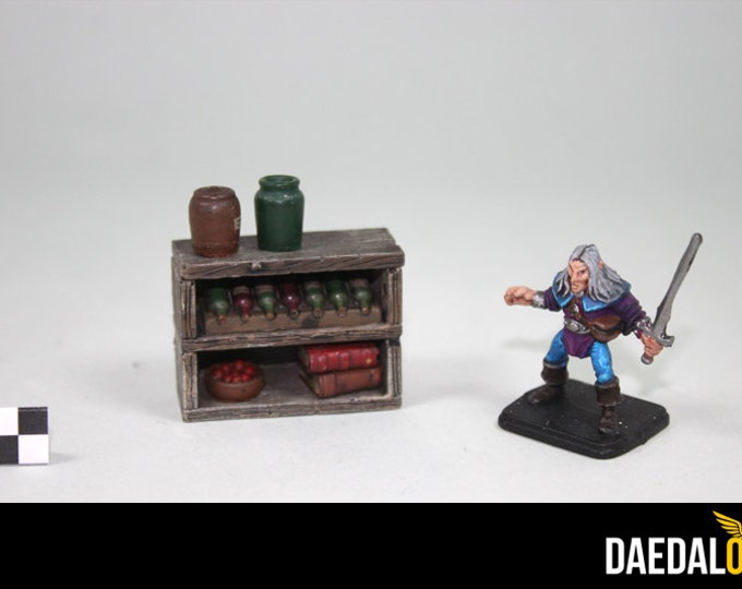 Dungeons and dragons furniture : Miniature shelf with accessories
