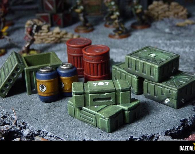 miniature crates barrels set for tabletop wargames