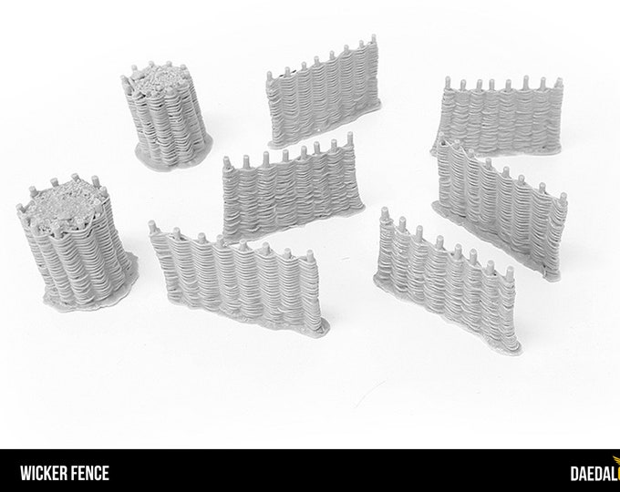 wicker fences for tabletop miniature games like dungeons and dragons, saga, mordheim