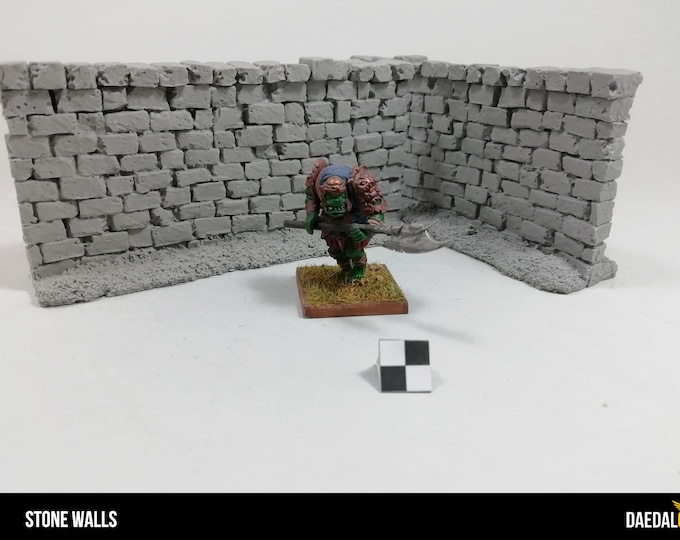 Two stone walls for tabletop miniature game 28mm like bolt action, fallout, mordheim