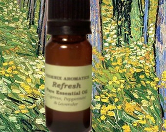 Refresh Essential Oil Blend, 10 ml, Diffuser blend, Lavender, Cypress, Peppermint, Fresh scent, Relaxing aromatherapy blend, Spring aroma