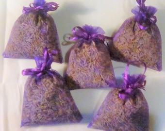 Set 5 Lavender Bags, Dried Lavender, Herbal Sachets, Sleep sachets, Purple Organza bag, Drawer Freshener, Housewarming gift, Lavender Sachet