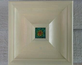 "Original Acrylic Painting, Acrylic Flower Art Miniature, 7.5""x7.5"" Original Art, Framed in wood, Fineart Art Painting 1.25"" Square Miniature"