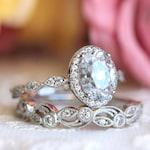 2.20 cttw • Art Deco Bridal Set Ring • Oval Halo Engagement Ring w/ Leaf & Vine Vintage Wedding Ring • Dainty Bridal Set [65359-2A]