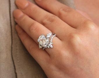 852a902855f1d4 5.21 cttw • Antique Cushion Cut Center Three Stone Engagement Ring w/ Tiara  Half Wedding Band Ring • Dainty Bridal Set [61437-2T]