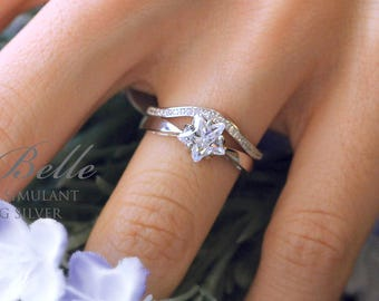 Solitaire Star Bridal Set Ring-Star Cut Diamond Simulant-Engagement Ring W/ Curve Wedding Half Band Ring-Sterling Silver [61305-2]
