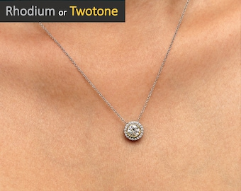 9bca8f249320 1.20 cttw • Classic Halo Pendant Necklace • Brilliant Cut Diamond Simulant  • Bridal & Bridesmaid Necklace • Daily Necklace [6706]