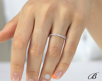 0.57 cttw 1.5mm Wide Full Pave Eternity Ring 4x4 Prong Brilliant Pave Set Diamond Simulant Stacking Band Delicate Band Ring BR7754E