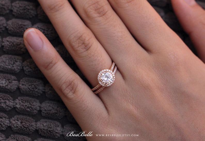 0754-2 2.13 cttw \u2022 Halo Bridal Set Ring \u2022 Brilliant Cut Diamond Simulant \u2022 Engagement Ring w All or Half Eternity Band Ring