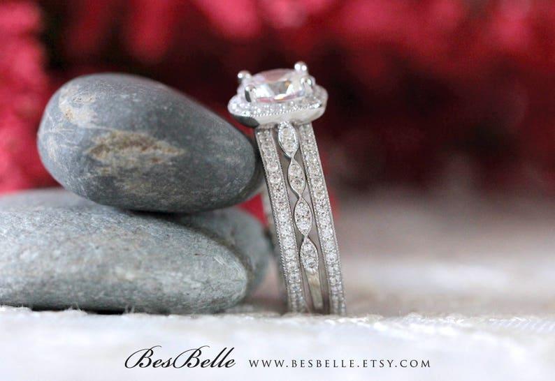 65360-3M 2.95 cttw Milgrain Art Deco Bridal Set-Brilliant Cut Halo Engagement Ring w Two All Half Eternity Bands