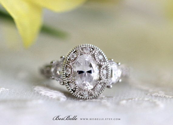 Art Deco Engagement Ring Oval Cut Diamond Simulant Vintage Etsy