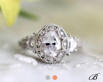Art Deco Engagement Ring Oval Cut Diamond Simulant Vintage Ring 2.25 cttw Art Deco Ring Half Moon Stone Bridal Ring [BR3950]