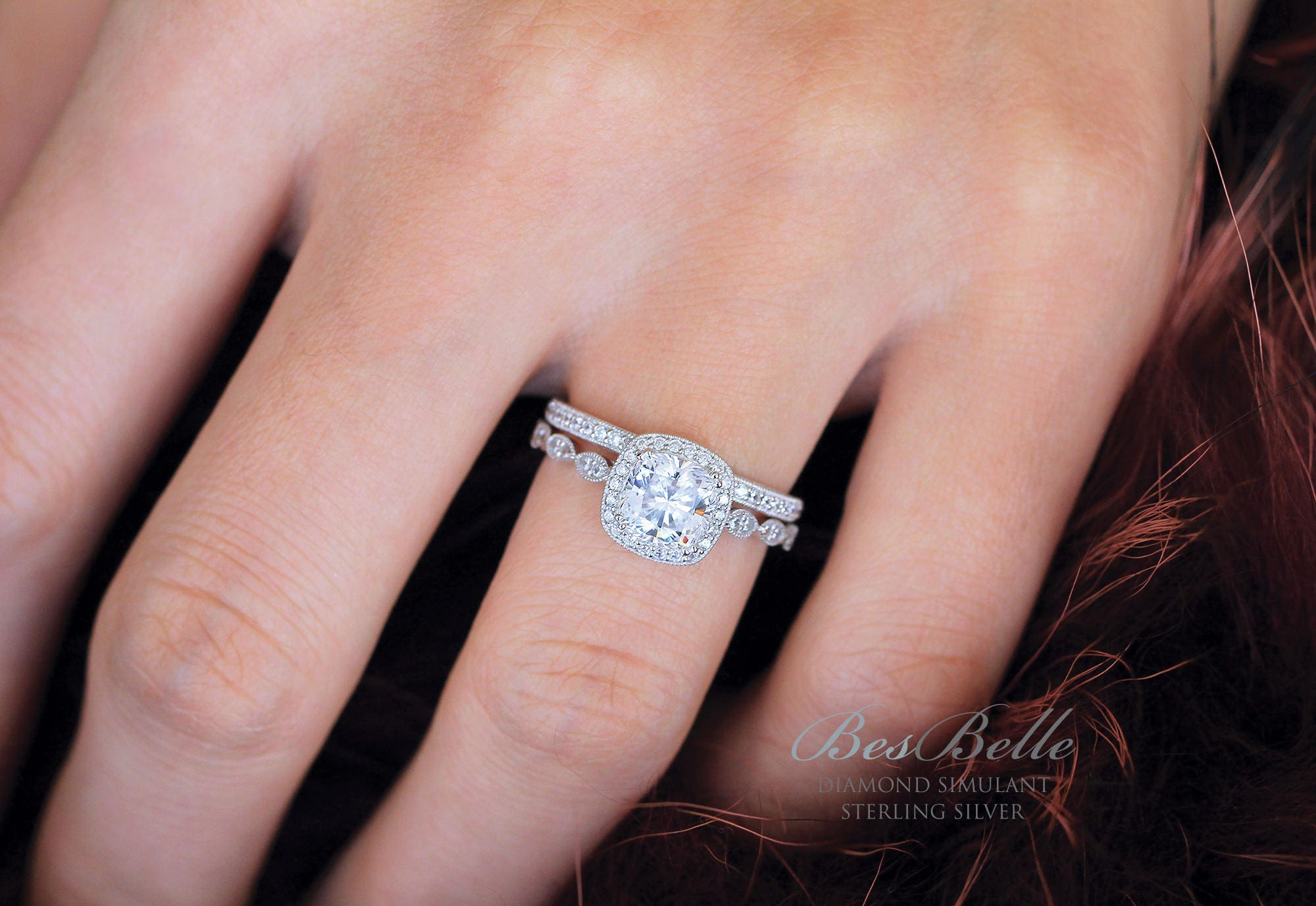2.58 ct.tw Art Deco Bridal Set Ring Set-Cushion Cut Halo   Etsy