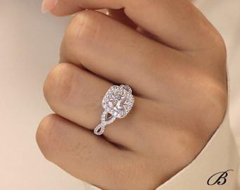 2.26 cttw Art Deco Ring Halo Engagement Ring Infinity Crossover Band Cushion Cut Diamond Simulant Bridal Ring [BR9852]