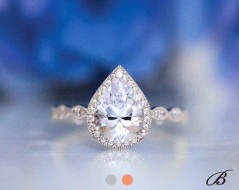 2.16 cttw Art Deco Ring Halo Engagement Ring Pear Cut Diamond Simulant Bridal Ring Wedding Ring Promise Ring [BR6253]