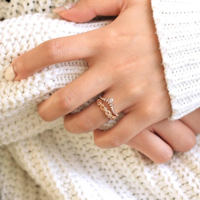 0.56 cttw \u2022 Art Deco Wedding Ring Set \u2022 Tiara Curve /& Vine Shaped Stacking Ring \u2022 Stackable Eternity Band \u2022 Dainty Wedding Ring 65222-2T