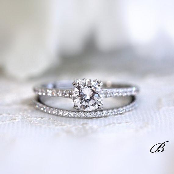 1 59 Cttw Solitaire Bridal Set Ring Brilliant Micro Pave Set Etsy