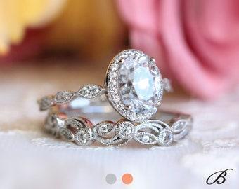 2.20 cttw Art Deco Bridal Set Ring Oval Halo Engagement Ring w/ Leaf & Vine Vintage Wedding Ring Dainty Bridal Set [BR65359-2A]