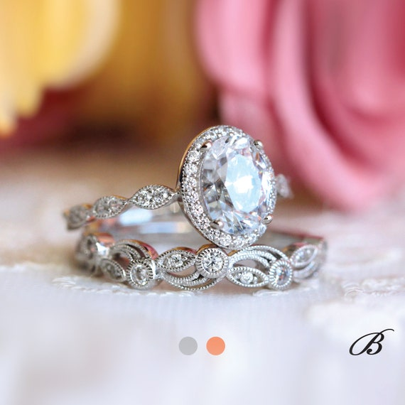 Art Deco Bridal Set Ring-Oval Cut Diamond Simulant-Engagement Ring W All or Half Eternity Ring-Rose Gold Plated 65039RG-2
