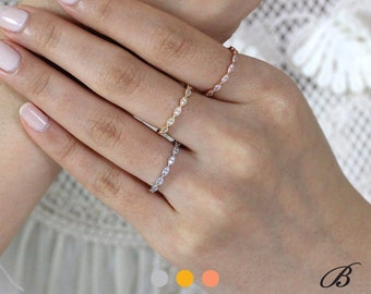 0.42 cttw Thin & Delicate Art Deco Full Eternity Ring Brilliant Cut Pave Diamond Simulants Tiny Bands Stackable Wedding Ring [BR6053E]