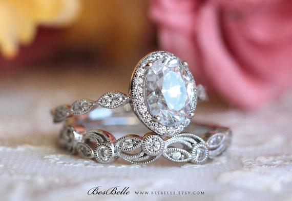 2 20 Ct Tw Art Deco Bridal Set Ring Oval Halo Engagement Ring Etsy