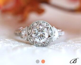 2.0 cttw Art Deco Engagement Ring Brilliant Cut Diamond Simulants Half Moon Side Stones Bridal Ring Vintage Style [BR7119]
