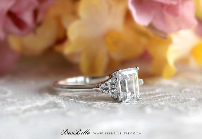 1.66 cttw \u2022 Three Stone Engagement Ring \u2022 Emerald /& Trillion Cut Diamond Simulant \u2022 Bridal Ring \u2022 Wedding Ring 8420ES