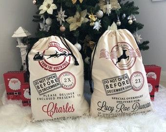 Personalised Christmas Santa Sacks Stocking Xmas