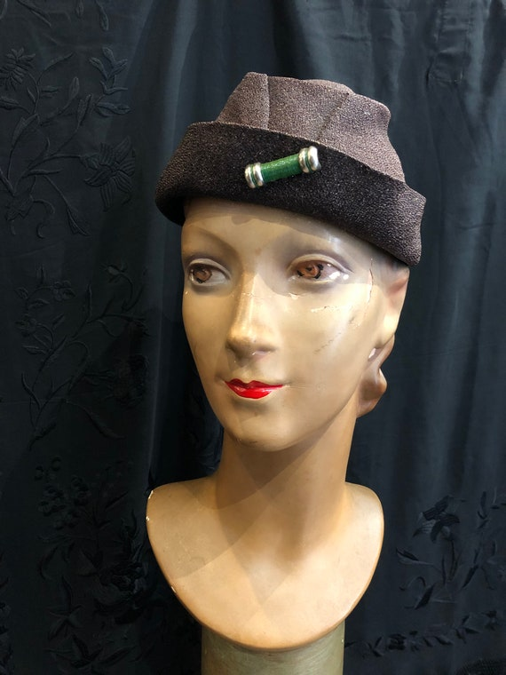 30's hat in brown coated canvas